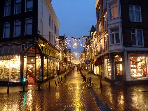 weihnachtlich beleuchtetes Amsterdam