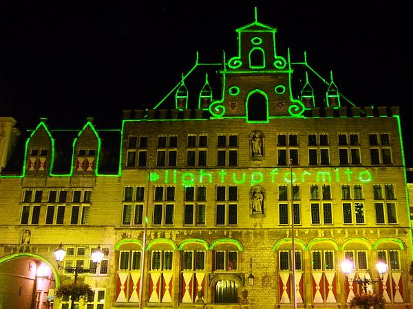 oude stadhuis in Bergen op Zoom erstrahlt in grün
