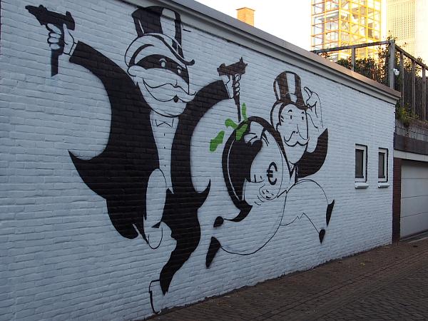 Streetart in Hengelo - Banküberfall
