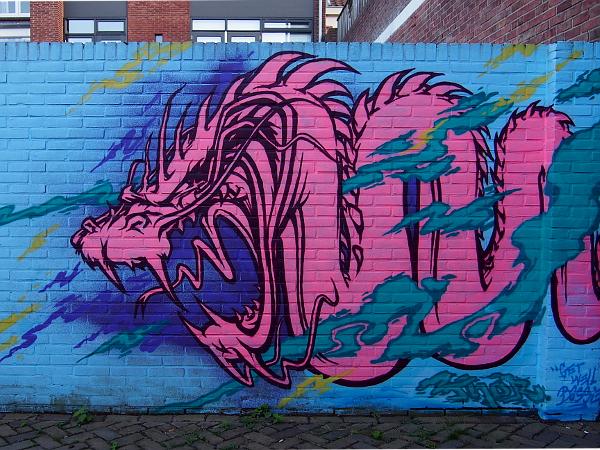 Streetart in Hengelo - Drache
